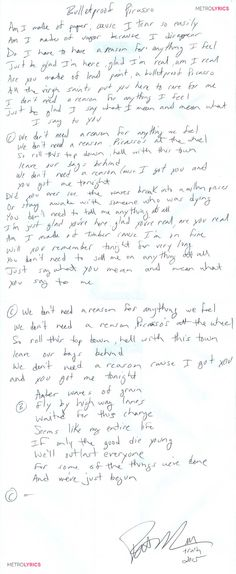 Train's 'Bulletproof Picasso' Lyrics: Handwritten by Pat Monahan