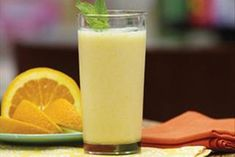 This refreshing smoothie gets its triple-citrus deliciousness from lemon low-fat yogurt, sectioned navel oranges and a lemony drink mix.