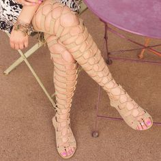 You'll be a leg above everyone else in these Tatiana Thigh High Gladiator Sandals in taupe! Featuring a faux suede material with a strappy construction with corset style lace up detail for a customize Black Strappy Heels, Strappy Sandals, Gladiator Sandals, Elf Clothes, Nice Clothes, High Shoes, Open Toe Shoes, Vegas 2017, Sandals For Sale