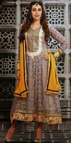 Karishma in grey and yellow long length full sleeves pure georgette anarkali suit with chiffon dupatta and shantoon bottom