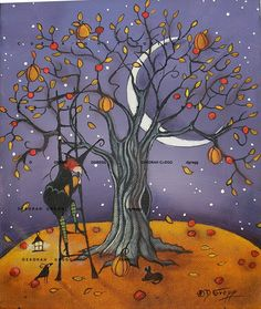 Hey, I found this really awesome Etsy listing at https://www.etsy.com/listing/253106834/the-pumpkin-tree-a-halloween-witch-crow