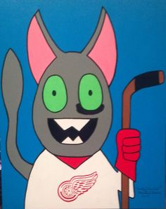 Hockeytown Cat - Rough and tumble, yet loveable. Sports a black eye from a donnybrook. Going to the family cottage.