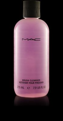 BRUSH CLEANER: M.A.C.'s Brush Cleaner--a must. Hand wash and lather brushes or let soak. When washing, rub the brush in the natural direction of the bristles and let dry over night over the edge of a counter (never flat). Cleans, disinfects, conditions and extends the life of any brush.