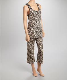 Look at this #zulilyfind! Pillow Fight Brown Leopard Pajama Set - Women by Pillow Fight #zulilyfinds