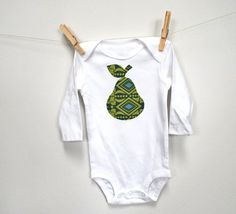 Pear Applique Baby One Piece Bodysuit by claireandjanae on Etsy, $15.00
