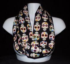 Sugar Skull Day of the Dead Dia de los Muertos Infinity Scarf by MadeByGraceBoutique on Etsy https://www.etsy.com/listing/207454306/sugar-skull-day-of-the-dead-dia-de-los