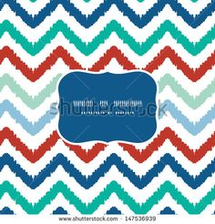 Colorful ikat chevron frame seamless pattern background - stock vector