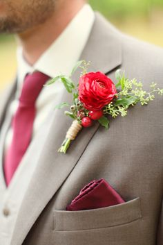 Groom's Boutonniere   Red Wedding Style Shoot