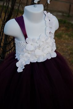 Flower girl dress Eggplant Plum White tutu by giselleboutique, $95.00
