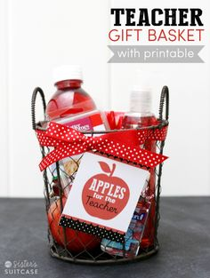 23 DIY Teacher Appreciation Gifts They'll Adore Apples for the Teacher Gift Basket {free printable}