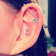 Piercings. Industrial, bar. Infinity, peace love cute ears