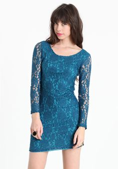 I want this dress! Love the long sleeve/short dress combo, plus the lace and lovely color!