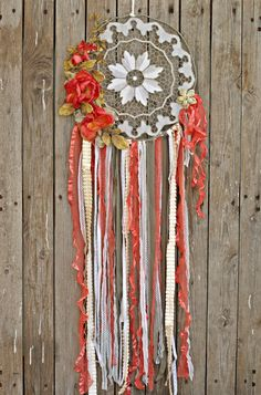 Floral Dream Catcher, Fall Wedding, Fall Decor, Boho Chic Dreamcatcher, Floral Wall Hanging, Floral Dreamcatcher, Dreamcatcher Wall Hanging by VintageShopCreations on Etsy