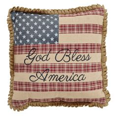 God Bless America Flag Cotton Throw Pillow