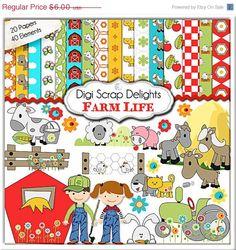 Digital Scrapbooking Clip Art: Farm Scrapbook Kit