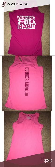 Two Under Armour tank tops youth girls Barely used looks brand new Under Armour Shirts & Tops Tank Tops