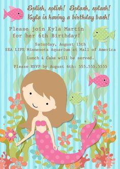 Mermaid Birthday Party Invitation -- Printable Digital File. $15.00, via Etsy.