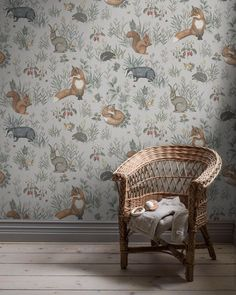 The illustrations on our Forest Friends Mural brings to mind old-fashioned storybooks. Its repeatable pattern is filled with charming drawings of woodland creatures. Wallpaper Magic, Interior Wallpaper, Lit Wallpaper, Forest Wallpaper, Friends Wallpaper, Nursery Wallpaper, Wallpaper Panels, Wallpaper Samples, Wallpaper For Kids Room