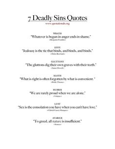 Quotes about the 7 deadly sins . - Quotes about the 7 deadly sins … quotes truths # Deadly sins - Sin Quotes, Poem Quotes, True Quotes, Words Quotes, Quotes To Live By, Best Quotes, Success Quotes, Bad Boy Quotes, Qoutes