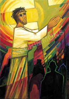 Jesus takes up the cross by The Benedictine Sisters of Turvey Abbey - prices start at inc. VAT for an poster. Christian Images, Christian Art, Jesus Son Of God, Juan Pablo Ii, Church Banners, Easter Art, Jesus Pictures, Sacred Art, Bible Art