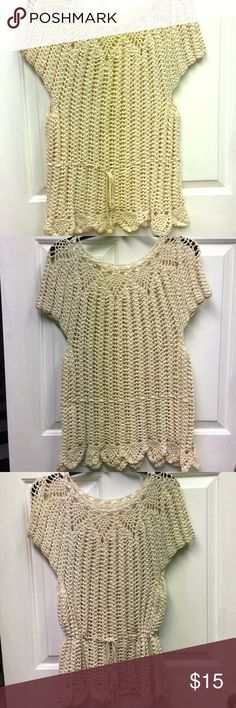 Handmade Crochet Sweater size L This cover up is a beige handmade crochet sweater that has an adjustable belt. This sweater is absolutely adorable so I hope it finds someone who can use it. Size L and has some stretch Sweaters Crew & Scoop Necks
