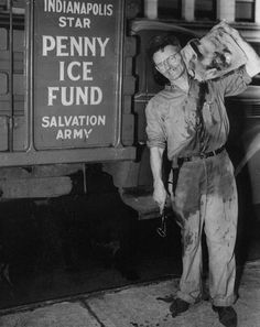 George Danforth had the coolist job in town..literally.  He delivered blocks of ice to needy, elderly and shut-ins courtesy of the Indianapolis Star-Salvation Army Penny Ice Fund.  1945 Indianapolis Star file photo