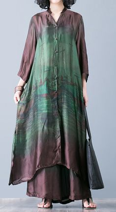 Natural with wide leg pants green prints Silk oversized Dresses summer two pieces Source by Khaoswerkstatt dress Pakistani Dresses, Indian Dresses, Indian Outfits, Hijab Fashion, Fashion Dresses, Fashion 2017, Mode Hippie, Elisa Cavaletti, Casual Dresses