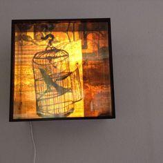Bird, light box, lamp, art object, lightning Art Object, Lightning, Art Projects, Objects, Boxes, Bird, Painting, Crates, Birds