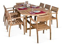 Coventry 9-Pc Teak Dining Set - International Home Miami #homedecor sories#homed#home # room #desgin #idea s #sofa #chiaraferragni #furniture #furniture_design  #newarrivals #internationalhome