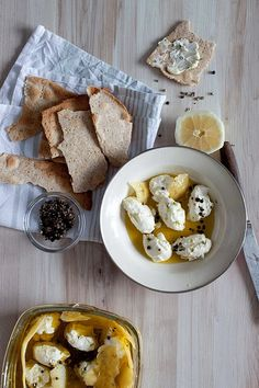Labneh and Flat Bread- better if you add the spice called Zattar on top (green spice mix found in arabic food markets)