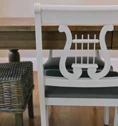 Before and After white painted dining chair DIY, chair seat upholstery tutorial