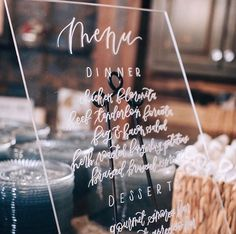 Clear Acrylic Wedding Menu Sign: Oh Honey Paper Co. // Recipe for amazing wedding: true love, lots of dancing, good people, good food. sign: @ohhoneypaperco  photo: @sarahlibbyphotography
