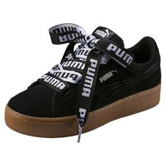 e7752c039e1035 Image 1 of Vikky Platform Ribbon Bold Women s Trainers in Puma Black-Puma  Black Sneakers