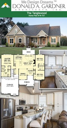 House Plans - The Tanglewood - Home Plan 757 Island kitchen of The Tanglewood house plan 1473 sq ft House Layout Plans, Craftsman Style House Plans, Ranch House Plans, Cottage House Plans, New House Plans, Dream House Plans, Modern House Plans, Small House Plans, House Layouts
