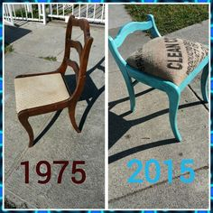 This is a chair from 1975 is been painted and reupholster with a coffee bean bag...