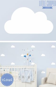 Fluffy Clouds, very cute! Sets of 20/40/60. Removable Vinyl Wall Decal.