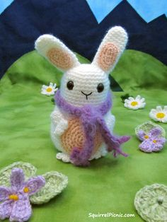 "Jelly Belly Bunny with Scarf Pattern by Squirrel Picnic...8.5"",including ears.. Free pattern!"