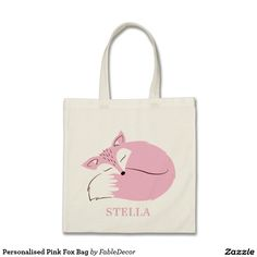 Personalised Pink Fox Bag! The perfect baby shower gift. Fill it with baby goodies with your expecting friend. All bags can be customised according to your favourite font.