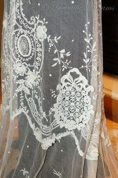 Stunning Rare Antique Irish Tambour Lace Bridal Skirt Circa 1880-1910. Available at wwwchantillydreams.com