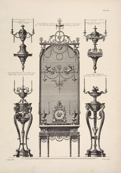 """The decorative work of Robert & James Adam; being a reproduction of the plates illustrating decoration & furniture from their """"Works in architecture"""", published 1778-1812."""