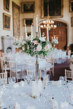 Downton decadence. An English country garden wedding at Carlton Towers. Romantic wedding centrepiece.  Image by Laura Calderwood Photography.  See more: http://bridesupnorth.com/2017/03/17/downton-decadence-an-english-country-garden-wedding-at-carlton-towers-natasha-matthew/  #wedding