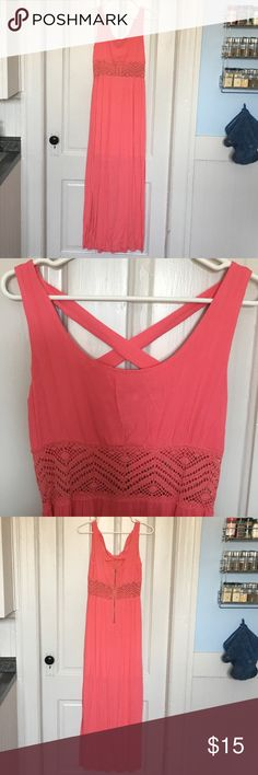 Xhilaration Maxi Dress Coral maxi dress with a criss cross back and lace cutout detailing around the waist.  Tags removed, but never been worn.  Tiny tear on the inside chest lining - must have purchased like that without noticing. Xhilaration Dresses