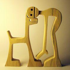 """sculpture bois chantourné """"un mec un chien, le retour de la bête"""""""
