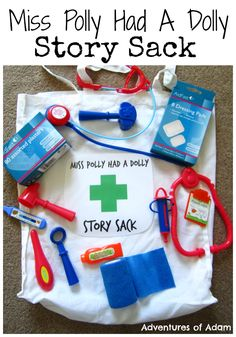 Miss Polly Had A Dolly Story Sack Miss Polly Had A Dolly who was sick, sick sick. Create a Miss Polly Had A Dolly Story Sack for your little ones to act out the nursery rhyme. Adventures of Adam Rhyming Activities, Music Activities, Preschool Activities, Nursery Rhyme Activities, Senses Preschool, Nursery Rhyme Theme, Nursery Ideas, People Who Help Us, Story Sack