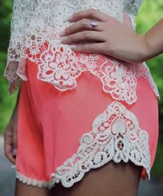 Sweet Coral Pink Elastic Waist Laced Shorts For Women  Coral  Pink  White   828ff1fdfa5