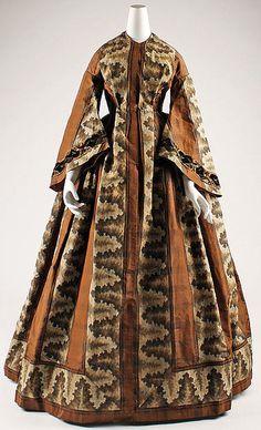 Dress Date: ca. 1850 Culture: American Medium: silk, linen, cotton Dimensions: Length at CB: 62 in. (157.5 cm) Credit Line: Gift of Mrs. William E. Dupree, 1955