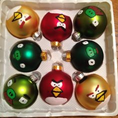 DIY Angry Bird Christmas ornaments - fun! I'm going to add little Santa hats to mine :)