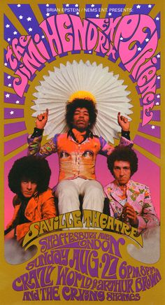 Jimi Hendrix Experience | Crazy world of arthur brown and the crving shames, August 27, 1967 - Saville Theatre ( Westminster, London) Artist Bob Masse photographer Karl Ferris