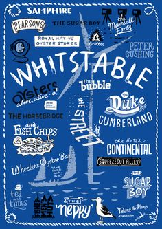 Hand-drawn Whitstable icons A3 print, by Have A Gander on Folksy, £28.00