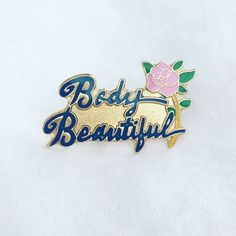 Vintage Body Beautiful Rose Enamel Pin   1 wide   perfect condition   buy any other item and this one ships ❗️FREE❗️
